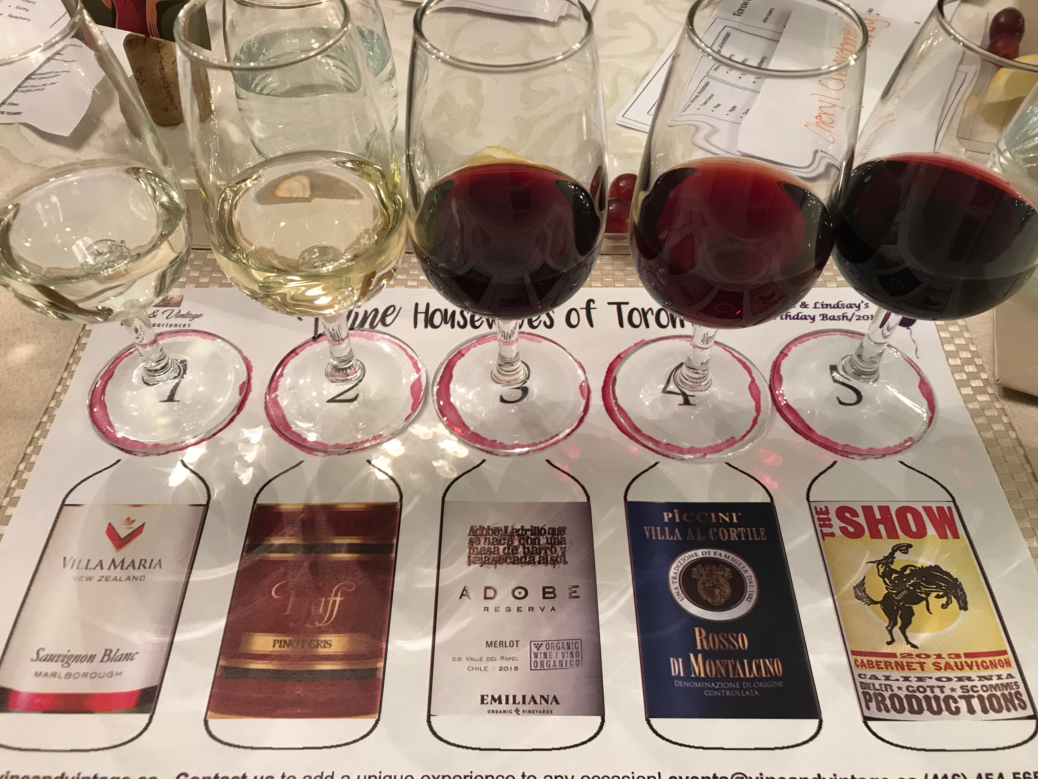 picture of 5 served wines