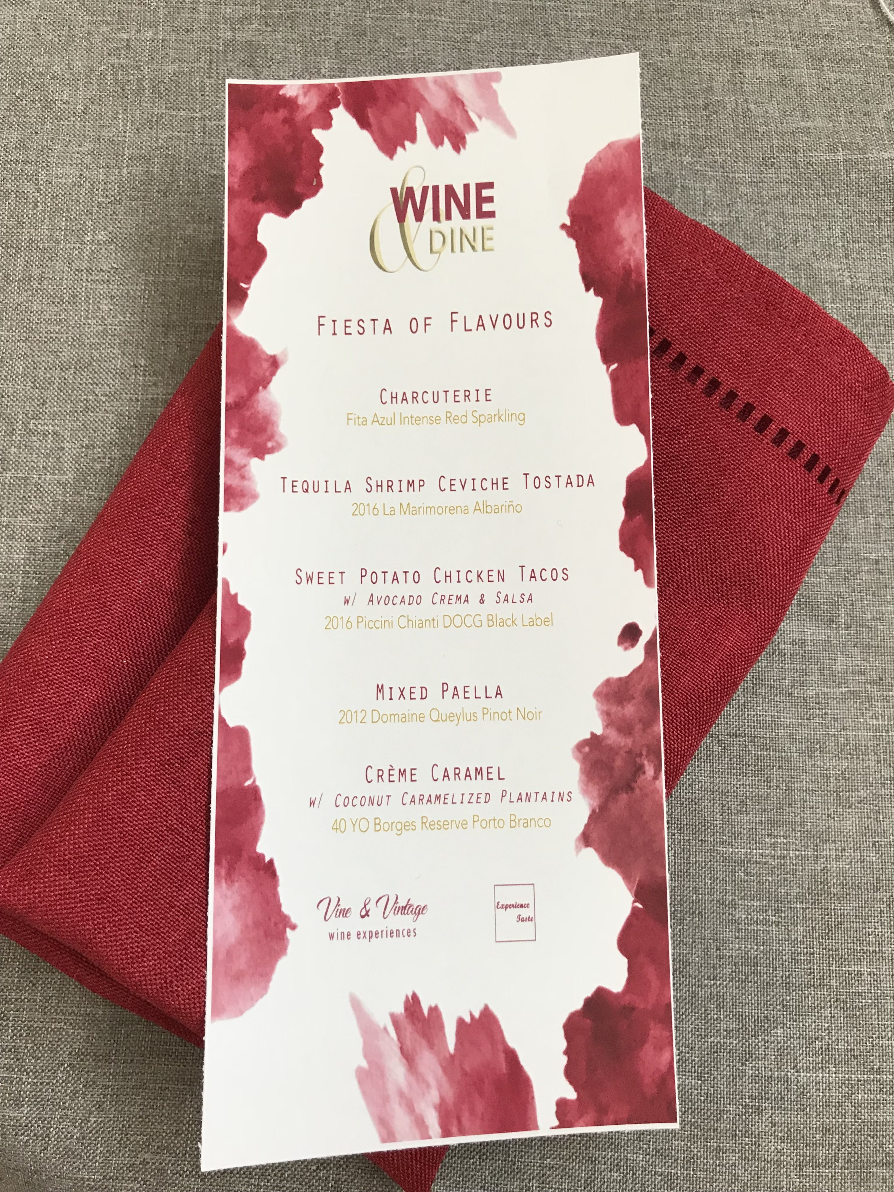 wine and food pairing menu