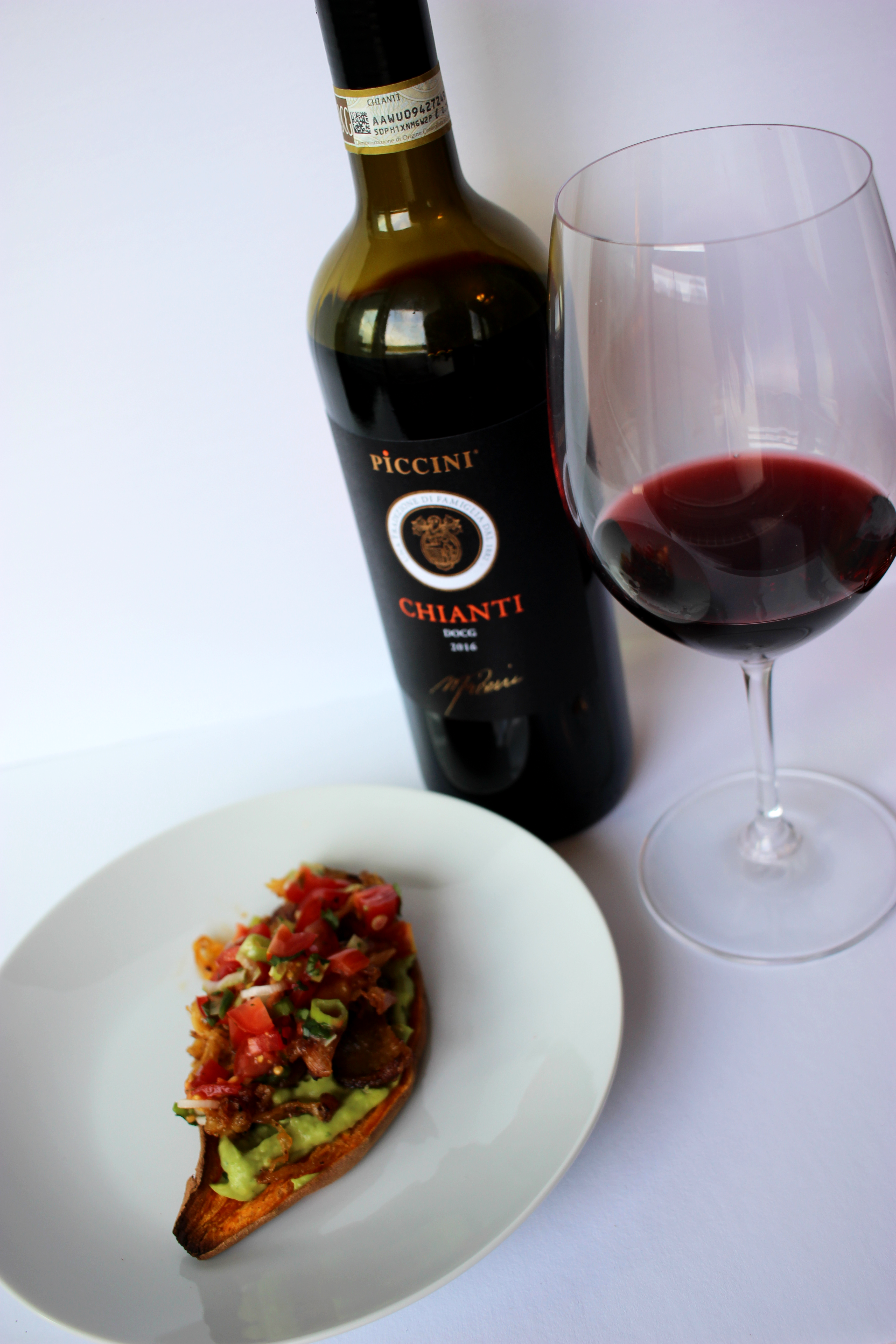 Sweet potato chicken taco with Italian chianti wine pairing